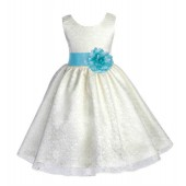 Ivory/Spa Floral Lace Overlay Flower Girl Dress Special Event 163S