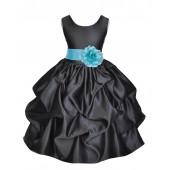 Black/Spa Satin Pick-Up Flower Girl Dress Formal 208T
