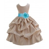 Champagne/Spa Satin Pick-Up Flower Girl Dress Party 208T