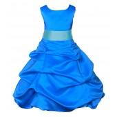 Royal Blue/Spa Satin-Pick-Up Bubble Flower Girl Dress 806S