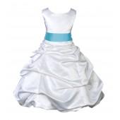 White/Spa Satin Pick-Up Bubble Flower Girl Dress V2 806S
