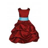Apple Red/Spa Satin Pick-Up Bubble Flower Girl Dress 806S