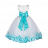 Ivory/Spa Lace Top Floral Petals Ivory Flower Girl Dress 165T