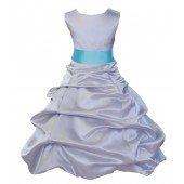 Silver/Spa Satin Pick-Up Bubble Flower Girl Dress Stylish 806S