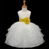 Ivory/Sunbeam Satin Shimmering Organza Flower Girl Dress Wedding 4613S