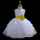 White/Sunbeam Satin Shimmering Organza Flower Girl Dress Wedding 4613S
