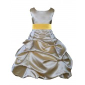 Gold/Sunbeam Satin Pick-Up Bubble Flower Girl Dress Dazzling 806S