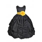 Black/Sunbeam Satin Taffeta Pick-Up Bubble Flower Girl Dress 301S