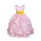 Pink/Sunbeam Satin Taffeta Pick-Up Bubble Flower Girl Dress 301S