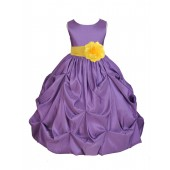 Purple/Sunbeam Satin Taffeta Pick-Up Bubble Flower Girl Dress 301S