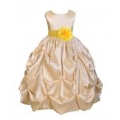 Champagne/Sunbeam Satin Taffeta Pick-Up Bubble Flower Girl Dress 301S