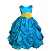 Turquoise/Sunbeam Satin Taffeta Pick-Up Bubble Flower Girl Dress 301S