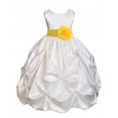 Ivory/Sunbeam Satin Taffeta Pick-Up Bubble Flower Girl Dress 301S