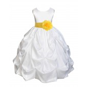 White/Sunbeam Satin Taffeta Pick-Up Bubble Flower Girl Dress 301S