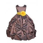 Brown/Sunbeam Satin Taffeta Pick-Up Bubble Flower Girl Dress 301S