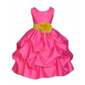 Fuchsia/Sunbeam Satin Pick-Up Flower Girl Dress Recital 208T