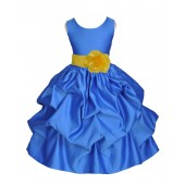 Royal Blue/Sunbeam Satin Pick-Up Flower Girl Dress Dance 208T