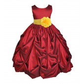 Apple / Sunebeam Satin Taffeta Pick-Up Bubble Flower Girl Dress 301S