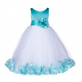Tiffany Floral Rose Petals Tulle Flower Girl Dress 167S