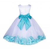 White/Tiffany Blue Lace Top Tulle Floral Petals Flower Girl Dress 165S