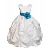 Ivory/Turquoise Satin Taffeta Pick-Up Bubble Flower Girl Dress 301T