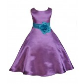 Purple/Turquoise A-Line Satin Flower Girl Dress Party Recital 821T