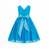 Turquoise Yoryu Chiffon V-neck Flower Girl Dress Formal Elegant S1503