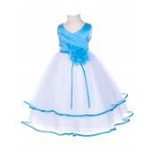 Turquoise Floral Pin Ruffle V-Neck Tulle Flower Girl Dress J115NF