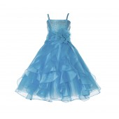 Turquoise Shimmering Organza Rhinestones Flower Girl Dress Formal J120NF