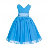 Turquoise V-Neck Yoryu Chiffon Flower Girl Dress Special Events 503
