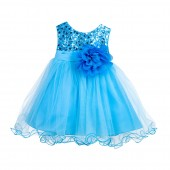 Turquoise Glitter Sequin Tulle Flower Girl Dress Formal Princess B-011NF