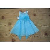 Turquoise/White/Turquoise Polka Dot Organza Flower Girl Dress Dance Reception 1509U