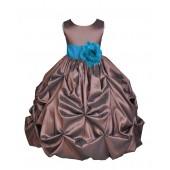 Brown/Turquoise Satin Taffeta Pick-Up Bubble Flower Girl Dress 301S