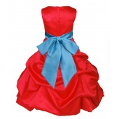 Red/Turquoise Satin Pick-Up Bubble Flower Girl Dress Christmas 806S