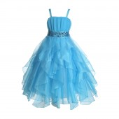 Turquoise Satin Organza Sequin Spaghetti-Straps Flower Girl Dress 009
