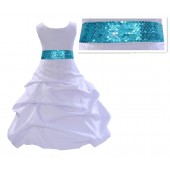 White Satin Pick-Up Bubble Flower Girl Dress Turquoise Sequins 806mh
