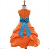 Orange/Turquoise Satin Pick-Up Bubble Flower Girl Dress Halloween 808T