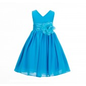 Turquoise blue Yoryu Chiffon V-neck Flower Girl Dress Formal Stunning S1503NF