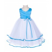 Turquoise Rhinestones Ruffle V-Neck Tulle Flower Girl Dress J115R