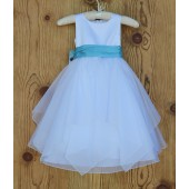 White/Turquoise Satin Bodice Shimmering Organza Flower Girl Dress J012