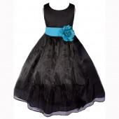 Black/Turquoise Satin Bodice Organza Skirt Flower Girl Dress 841T