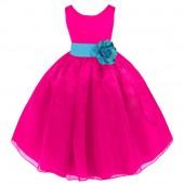 Fuchsia/Turquoise Satin Bodice Organza Skirt Flower Girl Dress 841T