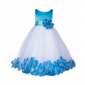 Turquoise Floral Rose Petals Tulle Flower Girl Dress 167S
