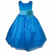 Royal Blue/Turquoise Satin Bodice Organza Skirt Flower Girl Dress 841T