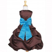 Brown/Turquoise Satin Pick-Up Bubble Flower Girl Dress Occasions 808T