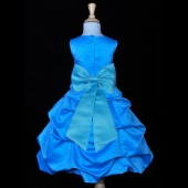 Turquoise/Turquoise Satin-Pick-Up Bubble Flower Girl Dress Recital 808T