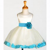 Ivory/Turquoise Rose Petals Tulle Flower Girl Dress Pageant 305S