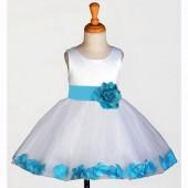 White/Turquoise Rose Petals Tulle Flower Girl Dress Wedding 305S