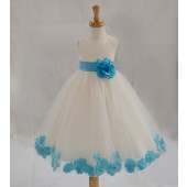 Ivory/Turquoise Tulle Rose Petals Flower Girl Dress Pageant 302T