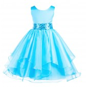 Turquoise Asymmetric Ruffled Organza Sequin Flower Girl Dress 012S